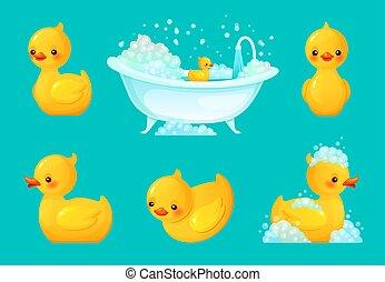 Yellow bath duck. Bathroom tub with foam, relaxing bathing and spa rubber ducks cartoon vector illustration