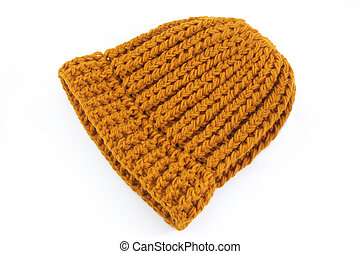 Yellow knitted wool hat
