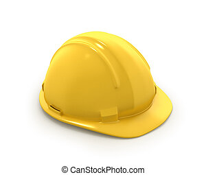 Yellow plastic helmet or hard hat isolated on white background