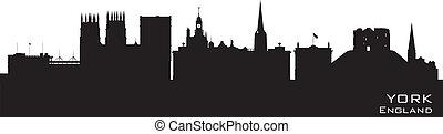York England city skyline Detailed silhouette. Vector illustration
