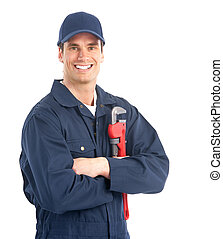 Young handsome plumber worker with adjustable wrench. Isolated over white background