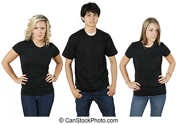 Young people wearing blank black shirts, ready for your design or logo.